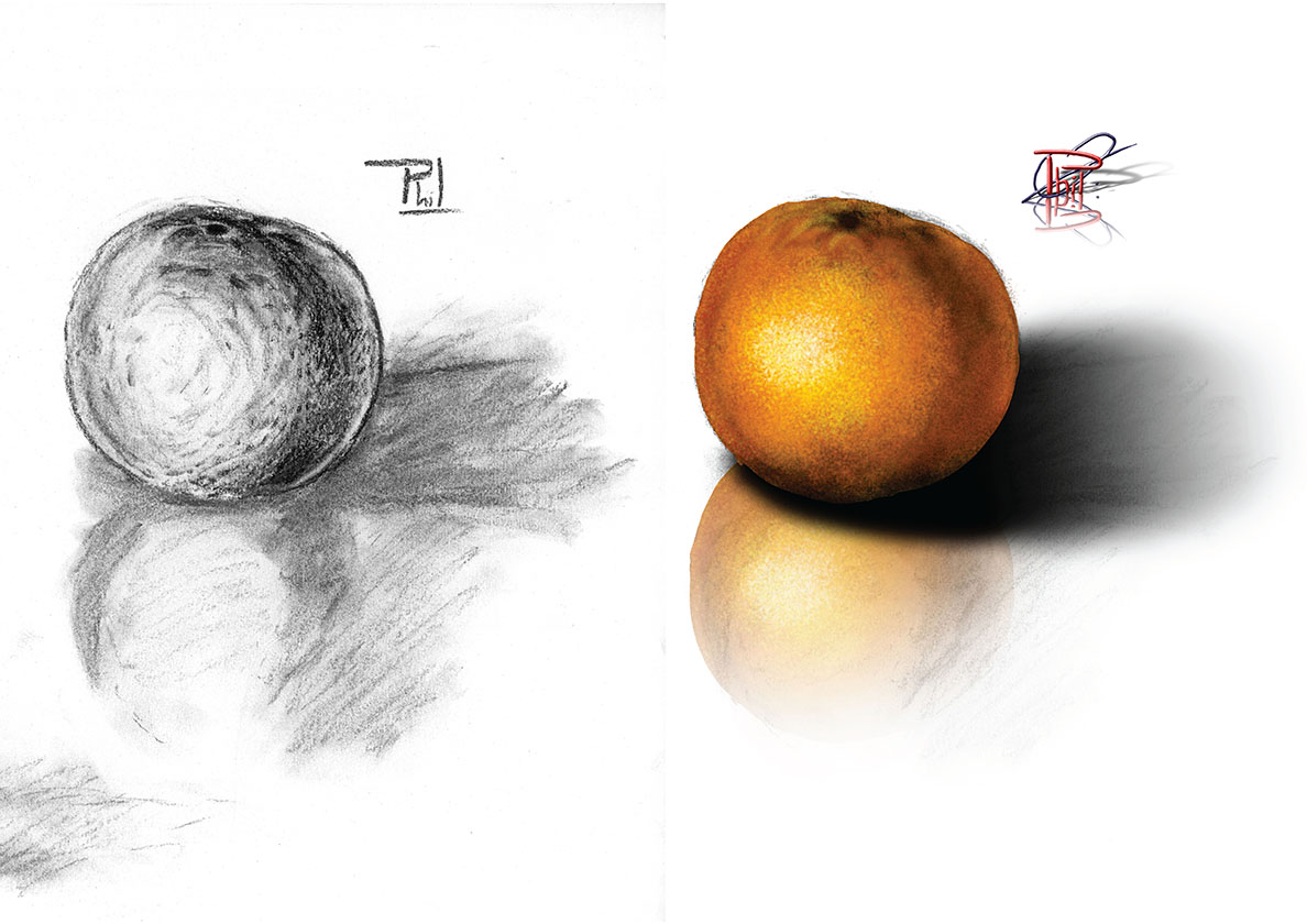 Charcoal drawing and digital painting