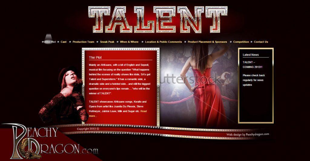 Website design - Talent the movie